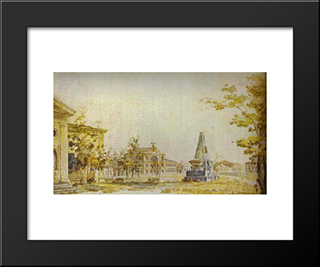 Town Square In Kherson: Modern Black Framed Art Print by Fyodor Alekseyev