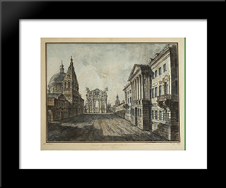 Tverskaya Street And Triumphal Arch In The Strastnaya Square: Modern Black Framed Art Print by Fyodor Alekseyev