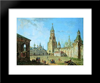 View From The Kremlin'S Spassky Gate: Modern Black Framed Art Print by Fyodor Alekseyev