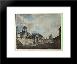 View From The Lubyanka Square To Vladimirskiye Gate: Modern Black Framed Art Print by Fyodor Alekseyev