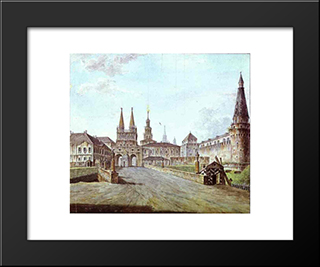 View Of Moscow Near The Iversky Gate Of The Kremlin: Modern Black Framed Art Print by Fyodor Alekseyev