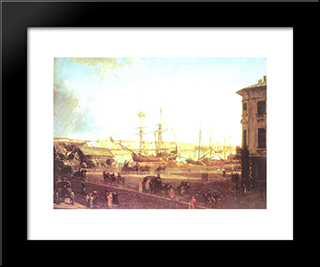 View Of The English Embankmant From Visilievsky Island In St. Petersburg: Modern Black Framed Art Print by Fyodor Alekseyev