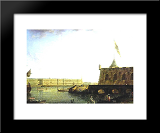 View Of The Fortress Of St. Peter And Paul And The Palace Embankmant: Modern Black Framed Art Print by Fyodor Alekseyev