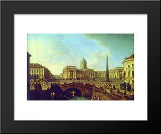 View Of The Kazan Cathedral In St. Petersburg: Modern Black Framed Art Print by Fyodor Alekseyev