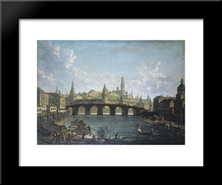 View Of The Kremlin And The Kamenny Bridge In Moscow: Modern Black Framed Art Print by Fyodor Alekseyev