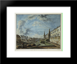 View Of The Kremlin From The Troitsky Gate: Modern Black Framed Art Print by Fyodor Alekseyev