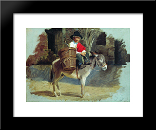 A Boy On A Donkey: Modern Black Framed Art Print by Fyodor Bronnikov
