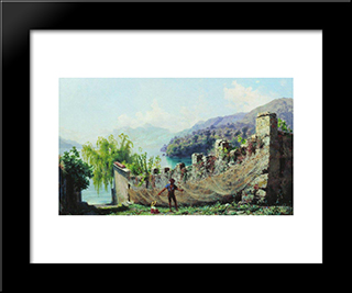 A Fisherman Hunging Fishing Nets: Modern Black Framed Art Print by Fyodor Bronnikov