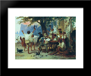 At A Roadside Tavern: Modern Black Framed Art Print by Fyodor Bronnikov