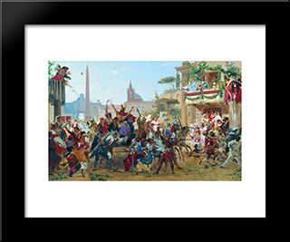 Carnival In Rome: Modern Black Framed Art Print by Fyodor Bronnikov
