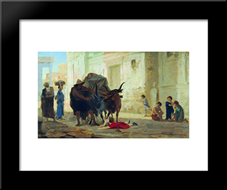 Children On The Streets Of Pompeii: Modern Black Framed Art Print by Fyodor Bronnikov