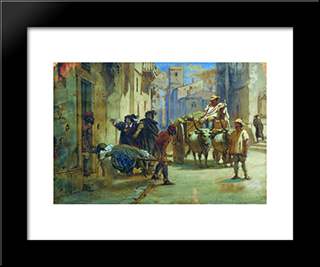 Cleaning Corpses During An Epidemic: Modern Black Framed Art Print by Fyodor Bronnikov