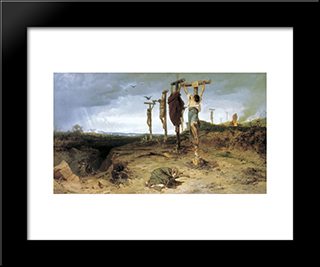 Cursed Field. The Place Of Execution In Ancient Rome. Crucified Slave: Modern Black Framed Art Print by Fyodor Bronnikov
