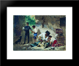 Dog Grooming In Children Portraits,: Modern Black Framed Art Print by Fyodor Bronnikov