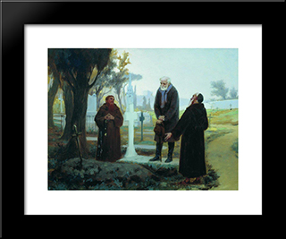 Exile In Front Of The Grave: Modern Black Framed Art Print by Fyodor Bronnikov
