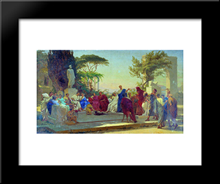 Horatius Reads Before Maecenas: Modern Black Framed Art Print by Fyodor Bronnikov