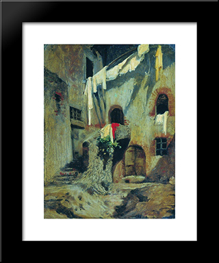Italian Courtyard: Modern Black Framed Art Print by Fyodor Bronnikov