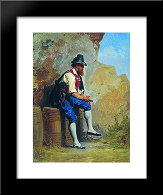 Italian Peasant On The Barrel: Modern Black Framed Art Print by Fyodor Bronnikov