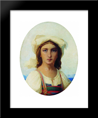 Italian Woman: Modern Black Framed Art Print by Fyodor Bronnikov