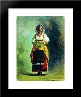 Italian Woman With A Basket Of Flowers: Modern Black Framed Art Print by Fyodor Bronnikov