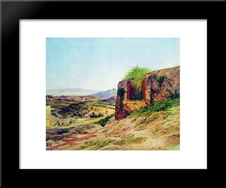 Landscape With Ruins: Modern Black Framed Art Print by Fyodor Bronnikov