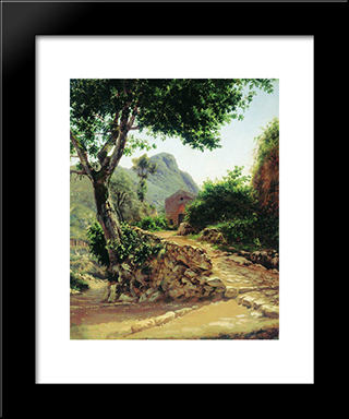 Landscape With Tree: Modern Black Framed Art Print by Fyodor Bronnikov
