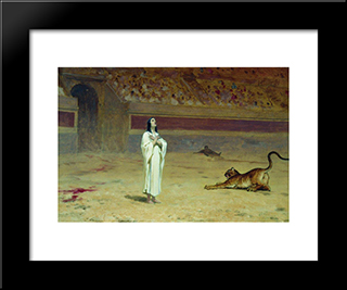 Martyr On A Circus Ring: Modern Black Framed Art Print by Fyodor Bronnikov
