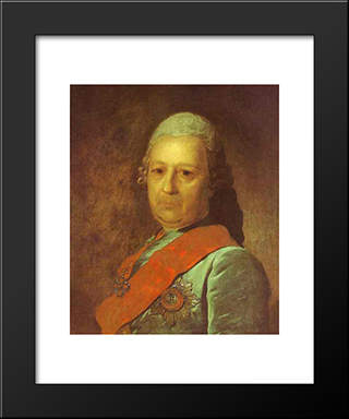 Portrait Of A.M.Obreskov: Modern Black Framed Art Print by Fyodor Rokotov