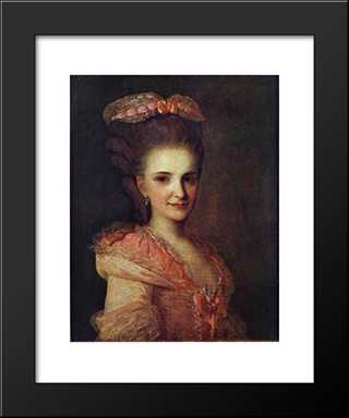 Portrait Of An Unknown Lady In A Pink Dress: Modern Black Framed Art Print by Fyodor Rokotov