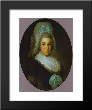 Portrait Of An Unknown Lady In A White Cap: Modern Black Framed Art Print by Fyodor Rokotov