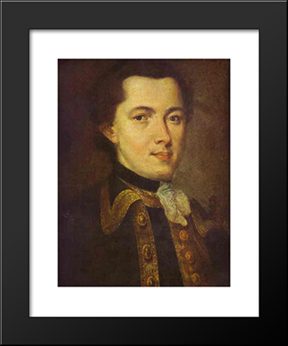 Portrait Of An Unknown Man: Modern Black Framed Art Print by Fyodor Rokotov