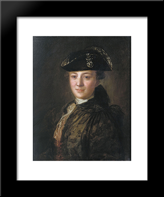 Portrait Of An Unknown Man In A Cocked Hat: Modern Black Framed Art Print by Fyodor Rokotov