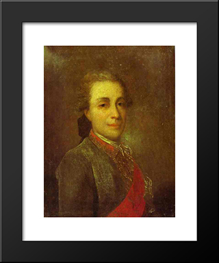 Portrait Of An Unknown Man In A Green Caftan: Modern Black Framed Art Print by Fyodor Rokotov