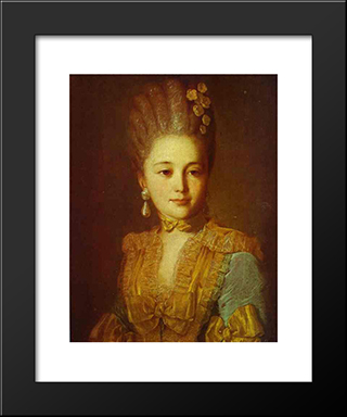 Portrait Of An Unknown Woman In A Blue Dress With Yellow Trimmings: Modern Black Framed Art Print by Fyodor Rokotov