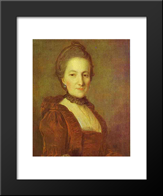 Portrait Of An Unknown Woman In A Red Dress: Modern Black Framed Art Print by Fyodor Rokotov