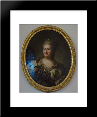 Portrait Of Catherine Ii. Repeat Version Of A Portrait (After 1768): Modern Black Framed Art Print by Fyodor Rokotov