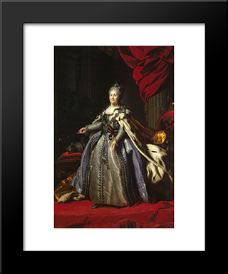 Portrait Of Catherine Ii Of Russia: Modern Black Framed Art Print by Fyodor Rokotov