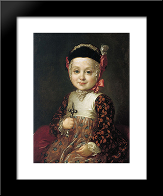 Portrait Of Count Alexey Bobrinsky As A Child: Modern Black Framed Art Print by Fyodor Rokotov