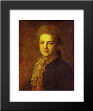 Portrait Of Count Artemiy Ivanovich Vorontsov: Modern Black Framed Art Print by Fyodor Rokotov