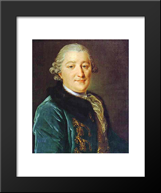 Portrait Of Count I.G.Orlov: Modern Black Framed Art Print by Fyodor Rokotov