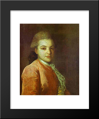 Portrait Of Count Illarion Ivanovich Vorontsov: Modern Black Framed Art Print by Fyodor Rokotov