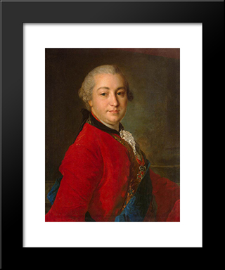 Portrait Of Count Ivan Shuvalov: Modern Black Framed Art Print by Fyodor Rokotov