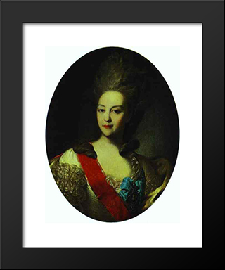 Portrait Of Countess Ekaterina Orlova: Modern Black Framed Art Print by Fyodor Rokotov