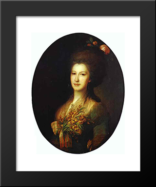 Portrait Of Countess Elizaveta Santi: Modern Black Framed Art Print by Fyodor Rokotov