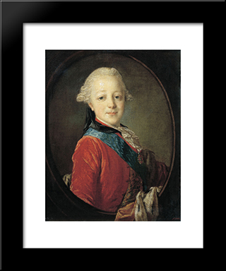 Portrait Of Emperor Paul I As A Child: Modern Black Framed Art Print by Fyodor Rokotov