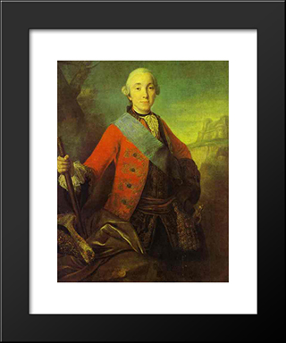 Portrait Of Great Duke Peter Fedorovich, Later Emperor Peter Iii: Modern Black Framed Art Print by Fyodor Rokotov