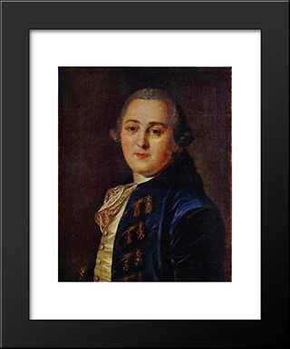 Portrait Of N.A.Demidov: Modern Black Framed Art Print by Fyodor Rokotov