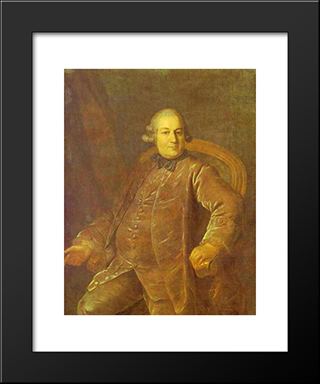 Portrait Of P.I.Vyrubov: Modern Black Framed Art Print by Fyodor Rokotov