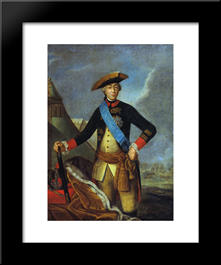 Portrait Of Peter Iii Of Russia: Modern Black Framed Art Print by Fyodor Rokotov