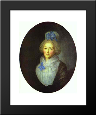 Portrait Of Princess A.A.Dolgorukaya: Modern Black Framed Art Print by Fyodor Rokotov